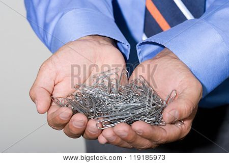 Office worker with paperclips