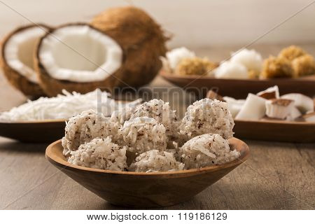 Peruvian Cocadas, A Traditional Coconut Dessert Sold Usually On The Streets, Made Of Grated Coconut