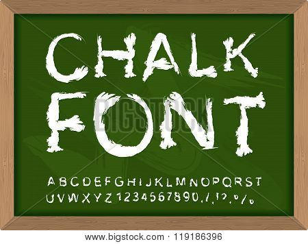 Chalk Font On Blackboard. Write With Chalk On  Lesson At School. Handwriting Alphabet. Uneven Letter