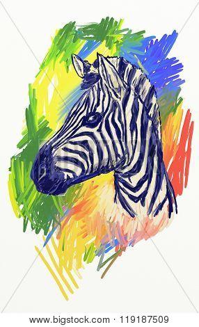Zebra Art. Colorful Image. Fasion Design