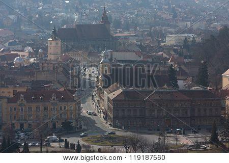 Brasov, Romania - February 06, 2016. City Scape, Aerial View Of The Old Town, Brasov, Transylvania,