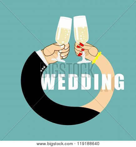Wedding. Symbol Of  Ring From Hands Of  Newlyweds. Bride And Groom Drink Champagne. Glasses With Whi