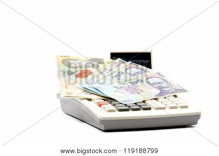 Money And Cash Register On Light Background Romanian Lei Banknotes. Soft Cool Color.