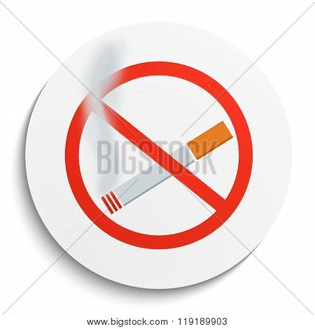No Smoking Sign On White Round Plate