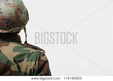 Rear view of soldier