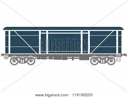 Covered Railway freight car - Vector illustration