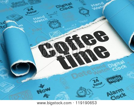 Timeline concept: black text Coffee Time under the piece of  torn paper