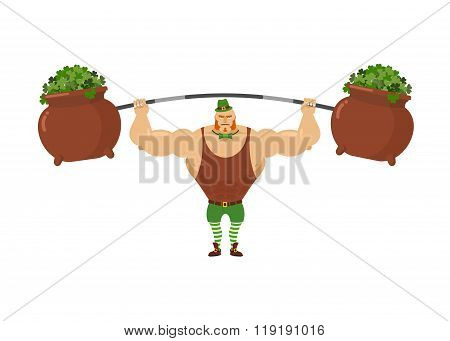Leprechaun Strongman. Powerful Leprechaun Athlete And Rod. Pot With Clover. Mythical Dwarf  Bodybuil