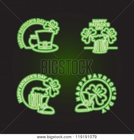 Set Logo Patricks Day. Neon Sign Shines In Dark Green. Characters Of Irish Holiday Beer Mug And Clov