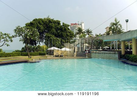 THAILAND, PATTAYA, MARCH, 26, 2015 - Modern swimming-pool  with clear turquoise water in hotel Dusit Thani, Pattaya, Thailand