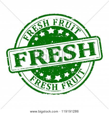 Damage To The Green Round Stamped - Fresh Fruit - Vector