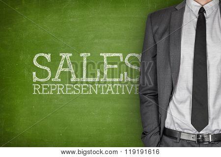 Sales representative on blackboard