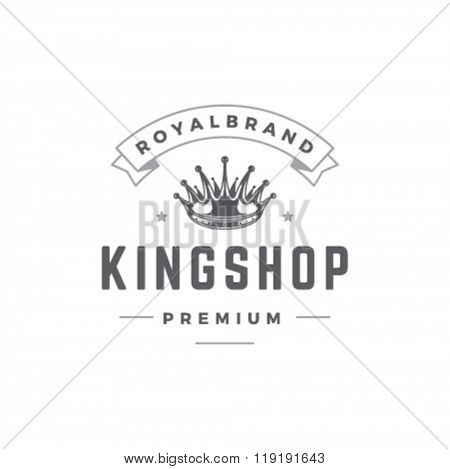 King Crown Logo Template. Royal Crown Silhouette Isolated On White Background. Vector object for Labels, Badges, Logos Design. King Logo, Luxury Logo, Crown Symbol, Vintage Logo, Crown Icon.