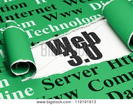 Web development concept: black text Web 3.0 under the piece of  torn paper
