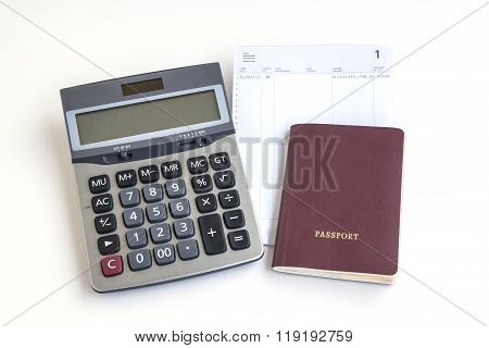 Passport Calculator And Account Passbook On White Background