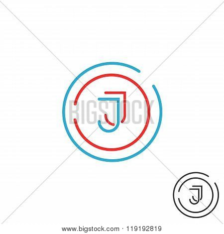 Modern Letter J Logo Monogram, Outline Emblem Business Card,  Line Deco Design Element Template
