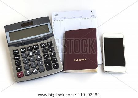 Passport Telephone Calculator And Account Passbook On White Background