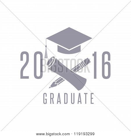 Class 2016 Graduation Celebration Poster Design Element, Cap, Diploma And Pencil Education Symbol, C