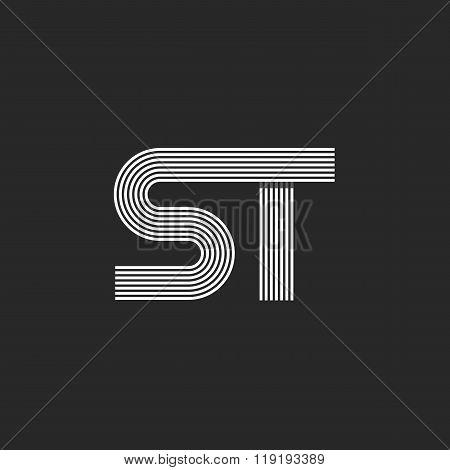 Logo St Letters Combination, Hipster Monogram S Group T Initials Symbol, Offset Fine Line Style Embl