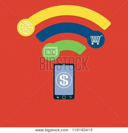 Mobile Payment Flat Concept Near Field Communication Nfc Creative Idea, Smartphone Online Contactles
