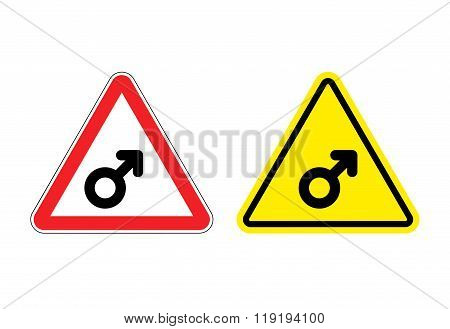 Warning Sign Mans Attention. Yellow Danger Man. Male Symbol On Red Triangle. Set Of Road Signs