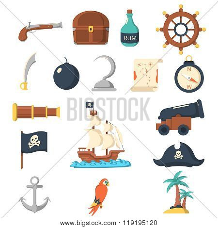 Pirate icons flat set