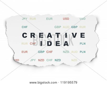 Business concept: Creative Idea on Torn Paper background