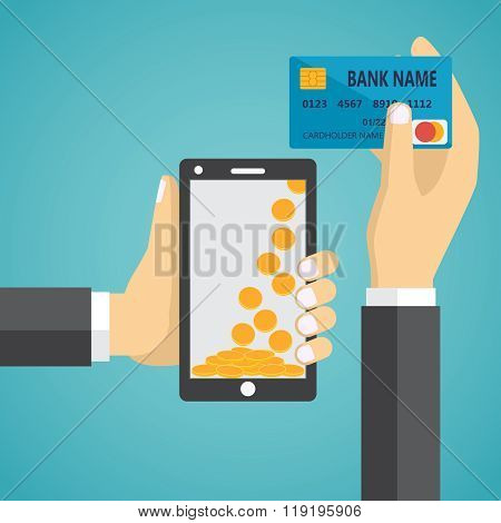 Man hands holding mobile phone and credit card