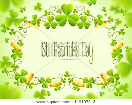 Saint Patricks Day holiday frame with green clover leaves and gold coin to day. Vector illustration. Transparent objects used for lights shadows drawing