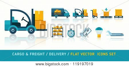 Freight delivery transportation and logistic flat icons set vector illustration. Isolated on white background. Transparent objects used for lights shadows drawing