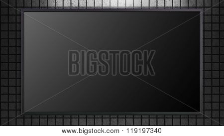 Large Tv Display On Brick With Black