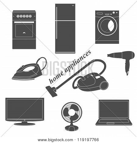 Vector icons of home appliances.