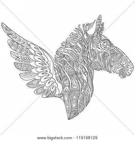 Zentangle Stylized Zebra With Wings