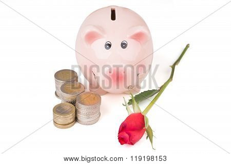 Piggy Bank With A Rose And A Stack Of Coins