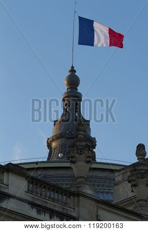 The French Flag Hoisted On Grand Palais.