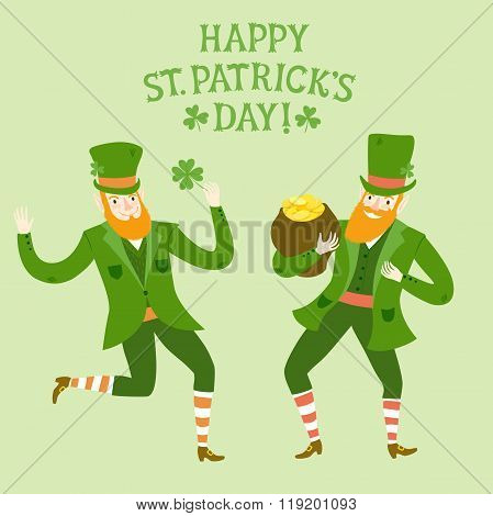 Cartoon Dancing Leprechauns