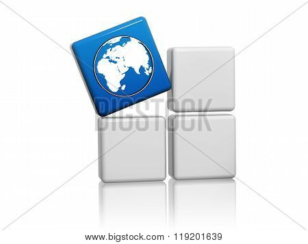World Globe Symbol In Blue Cube On Boxes
