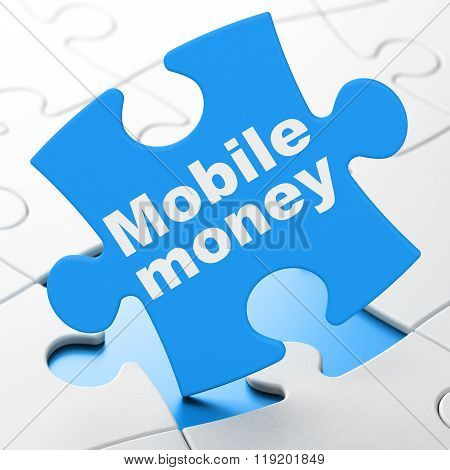 Money concept: Mobile Money on puzzle background