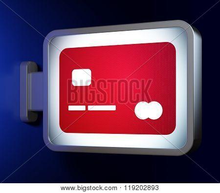 Banking concept: Credit Card on billboard background
