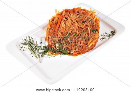 Stewed Cabbage On Rectangular Ceramic Plate, Studio Shot, Isolated.
