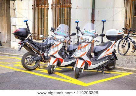 Police Scooters. Geneva