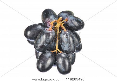 Delicious And Fresh Black Seedless Grape Isolated On White