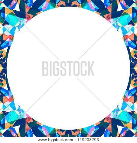 White Frame With Circular Multicolor Collage Pattern Borders