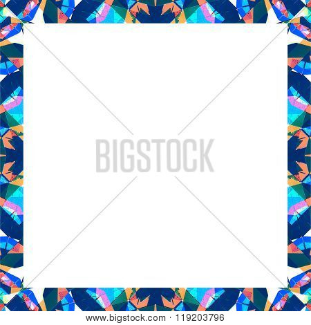 White Frame With Sharp Geometric Multicolor Collage Pattern Borders