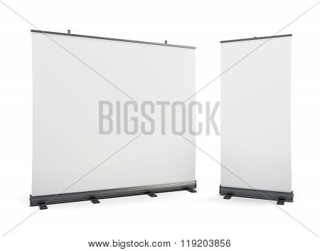 Wide Portable Advertising Banner And Roll-up On A White.