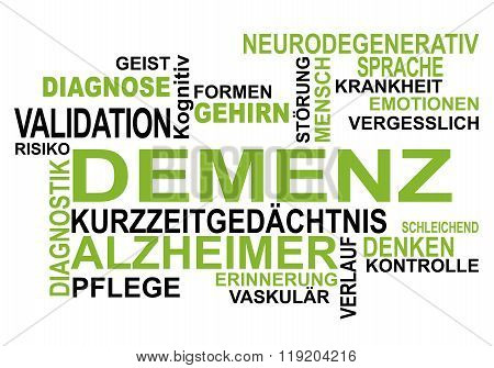 Dementia - Wordcloud in german language on white background