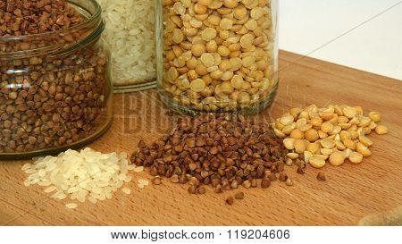 Buckwheat, rice and pease