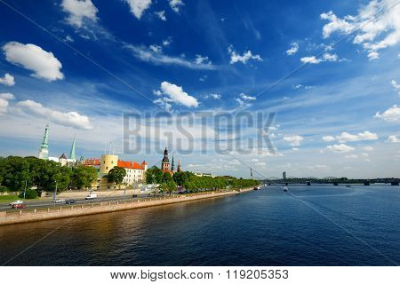 General View On Riga Embarkment In Bright Sunny Day, Latvia