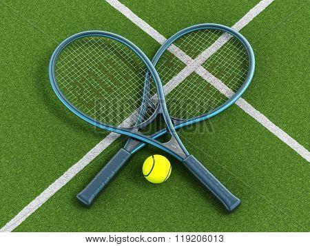 Tennis Rackets And Ball On Grass Court