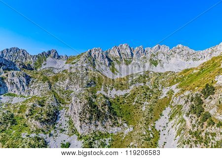 Montenegro mountains helicopter aerial view